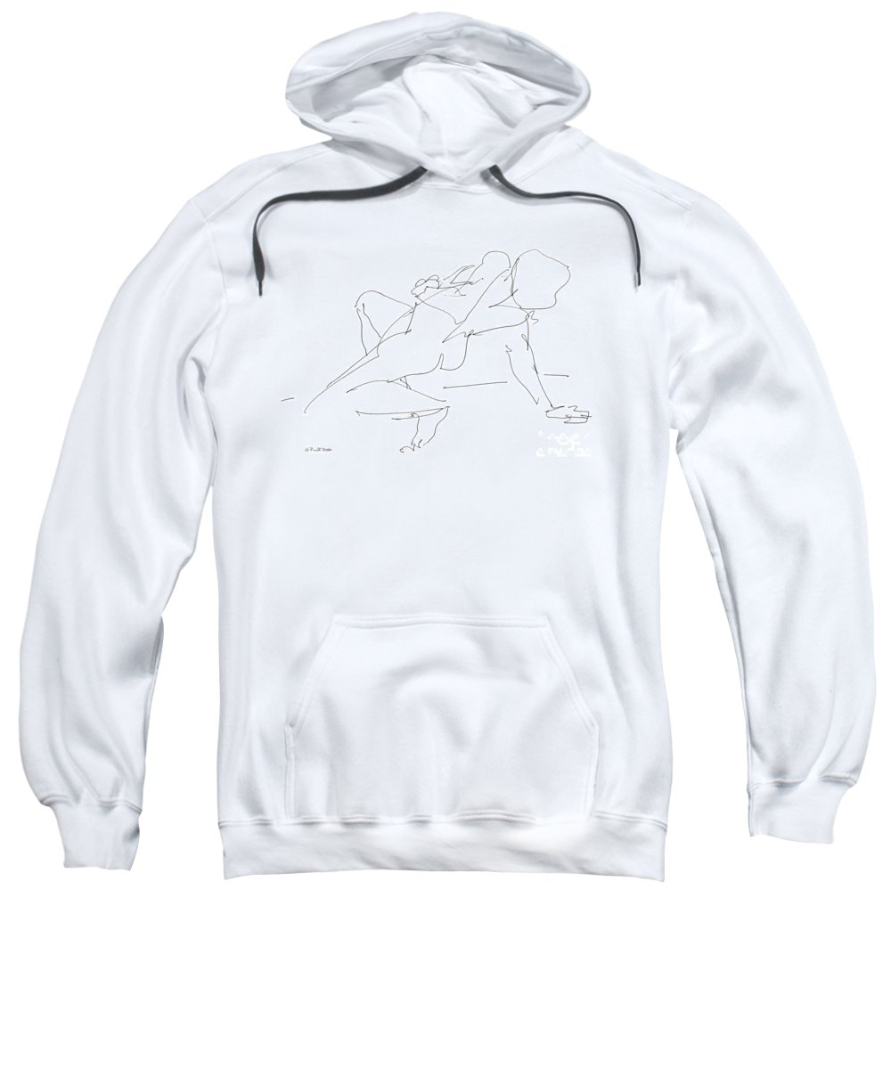 Females Sweatshirt featuring the drawing Nude-female-drawing-17 by Gordon Punt