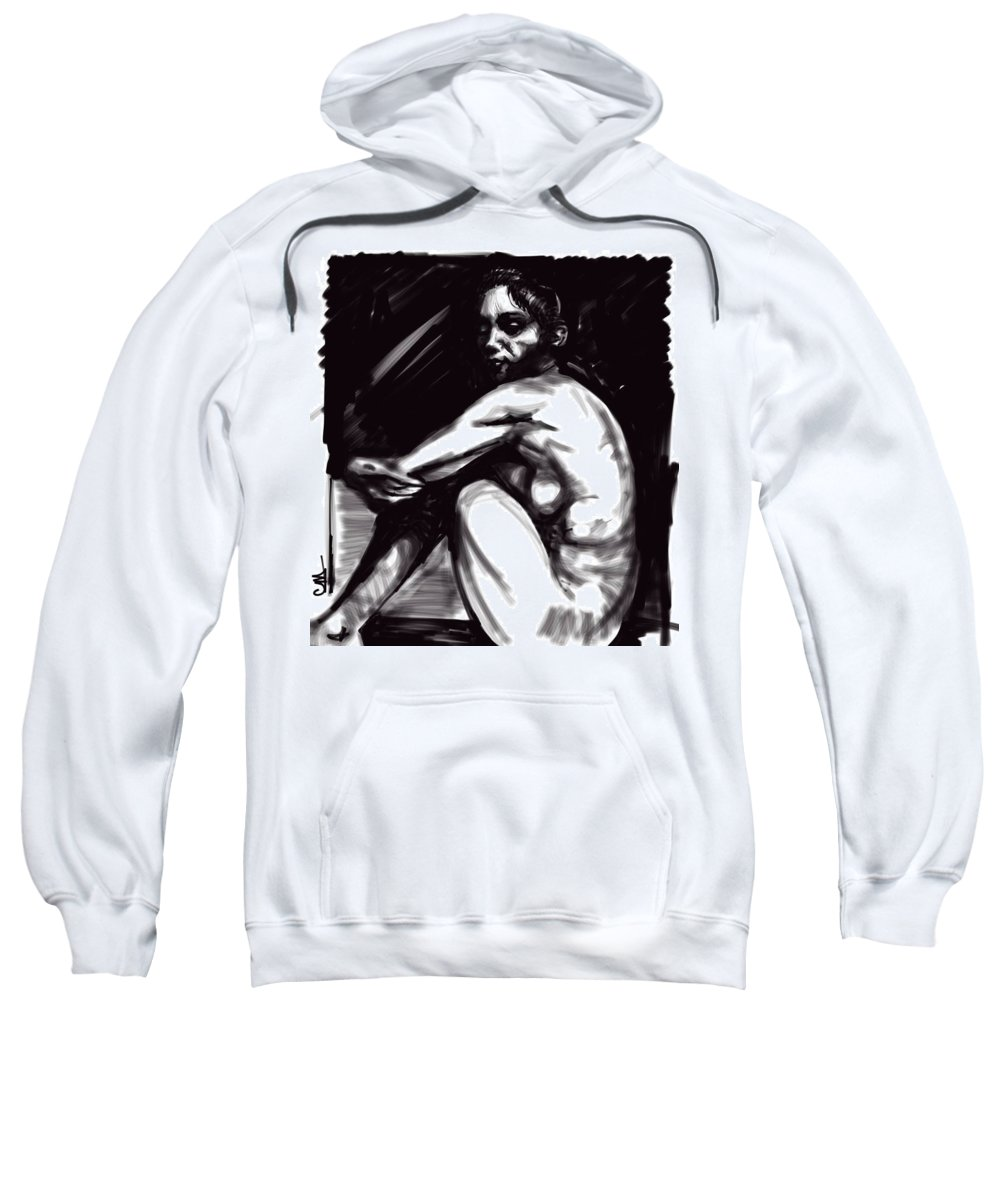 Digital Iine Art Sweatshirt featuring the digital art Nude Girl 1 by Carrley Mason