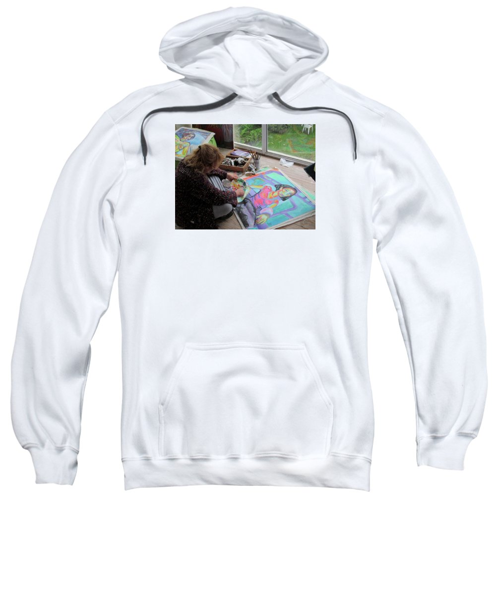 Landscape Sweatshirt featuring the painting Nude by Raquel Sarangello