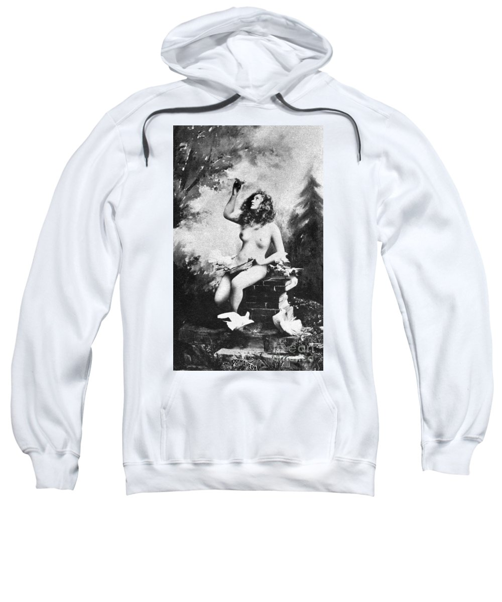 Sweatshirt featuring the painting Nude With Birds, 1897 by Granger