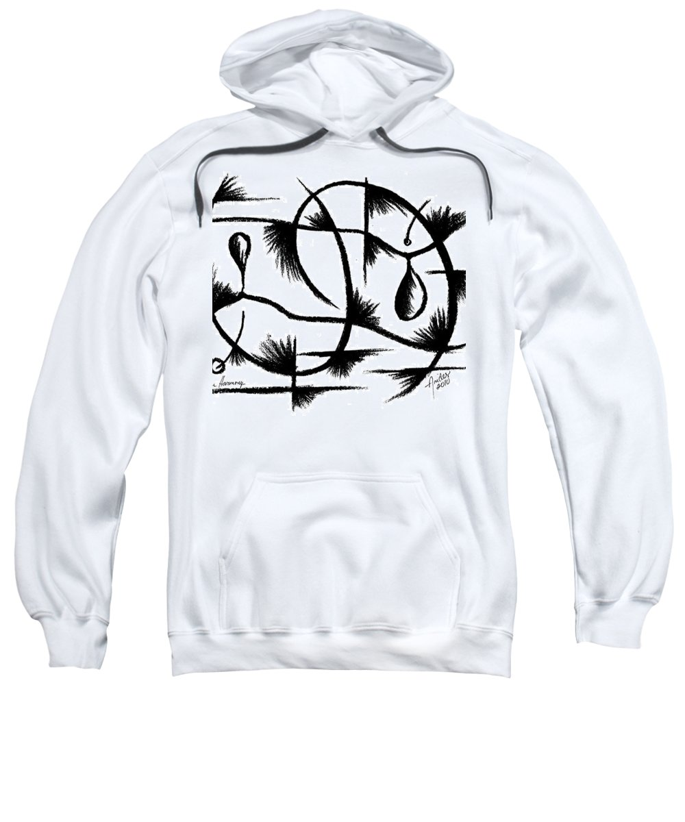 Modernist - Contemporany Sweatshirt featuring the drawing Nutrition Harmony by Arides Pichardo