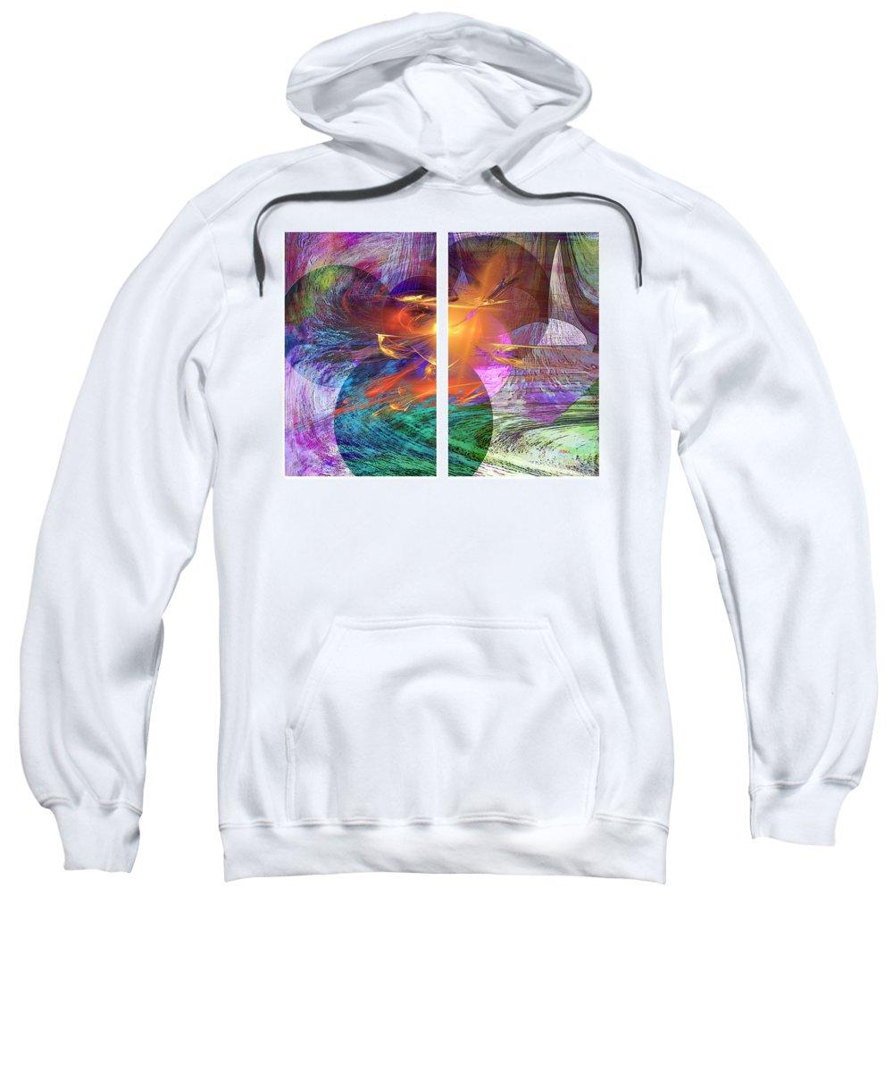 Ocean Fire Sweatshirt featuring the digital art Ocean Fire by John Beck