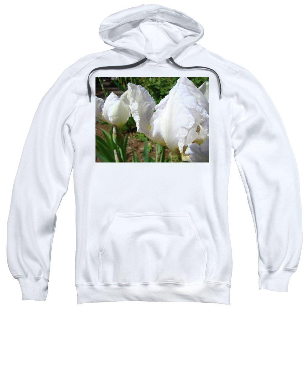 Iris Sweatshirt featuring the photograph Office Art White Iris Flowers Giclee Art Prints Irises Baslee Troutman by Baslee Troutman