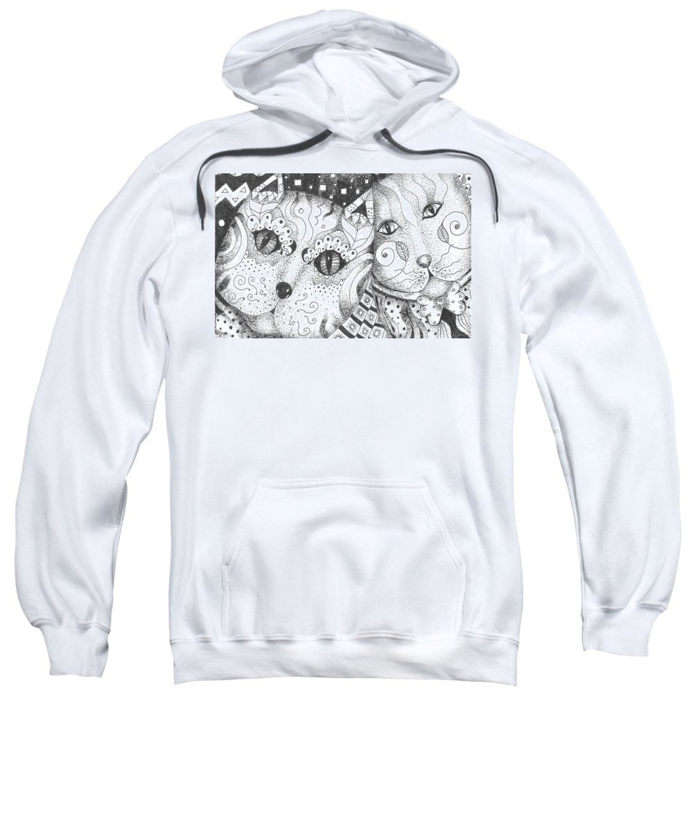 Cat. Cats Sweatshirt featuring the drawing Oh Purr... by Helena Tiainen