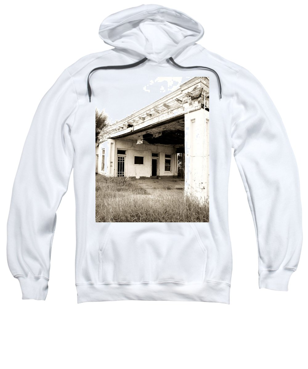Americana Sweatshirt featuring the photograph Old Art Deco Filling Station by Marilyn Hunt