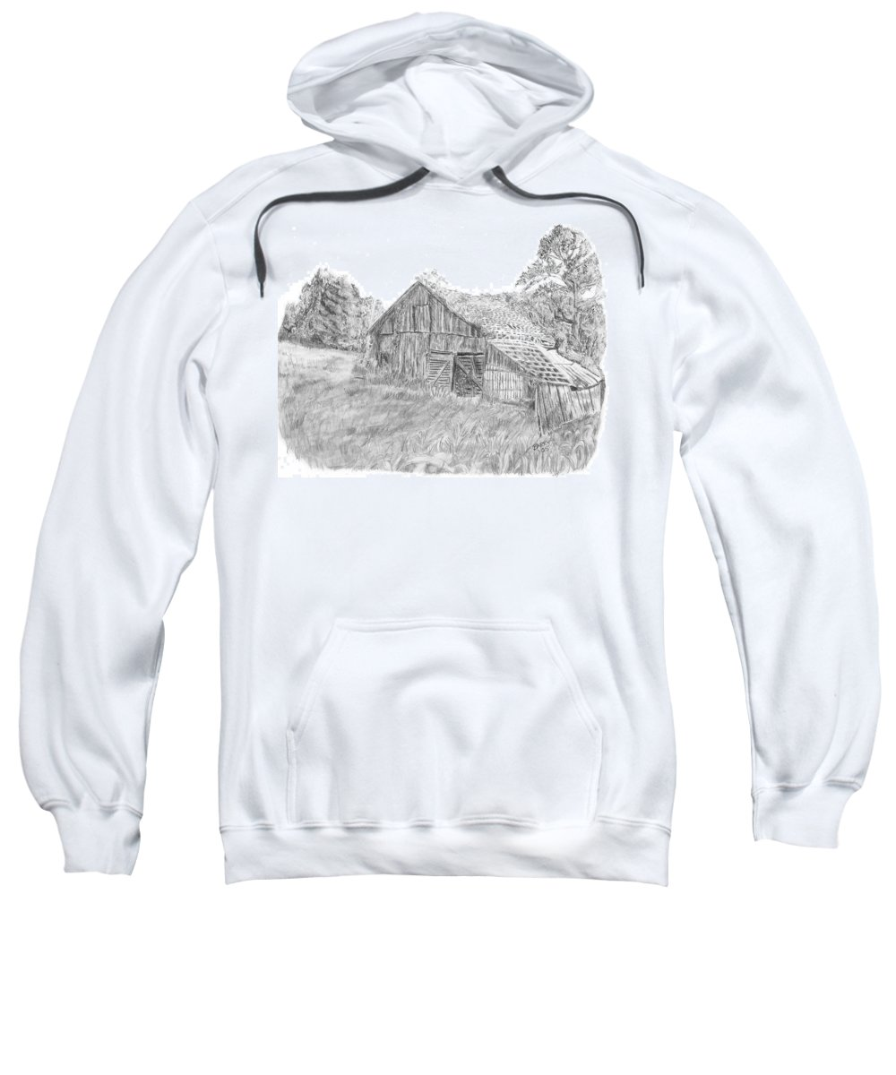 Old Barn Sweatshirt featuring the drawing Old Barn 3 by Barry Jones