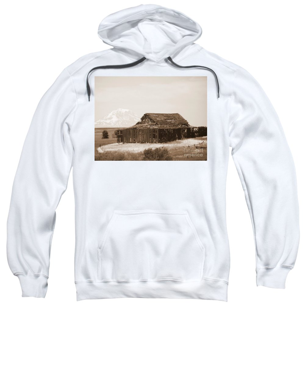 Barn Sweatshirt featuring the photograph Old Barn With Mount Adams In Sepia by Carol Groenen