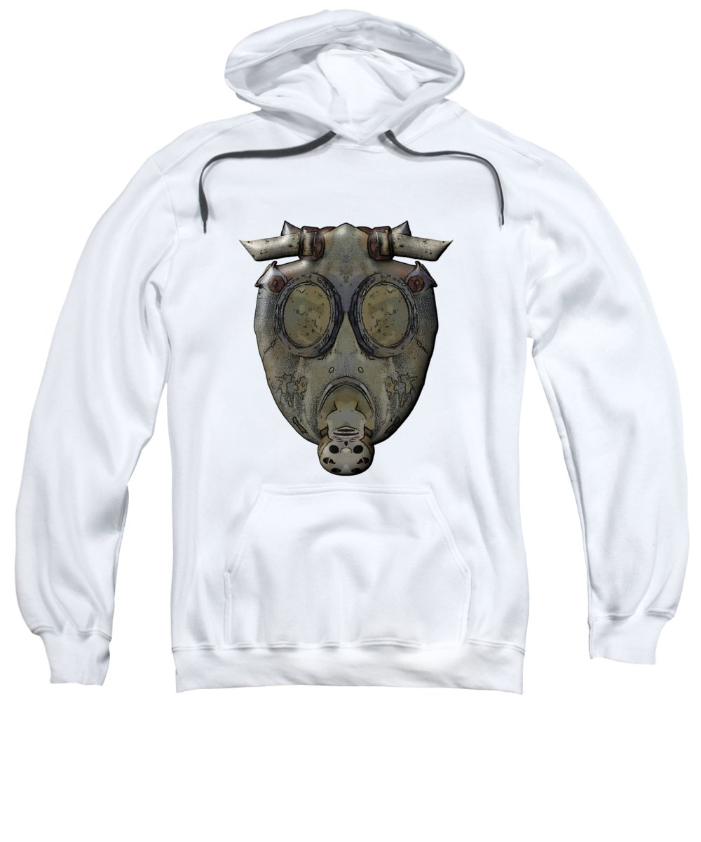 Concept Sweatshirt featuring the digital art Old Gas Mask by Michal Boubin