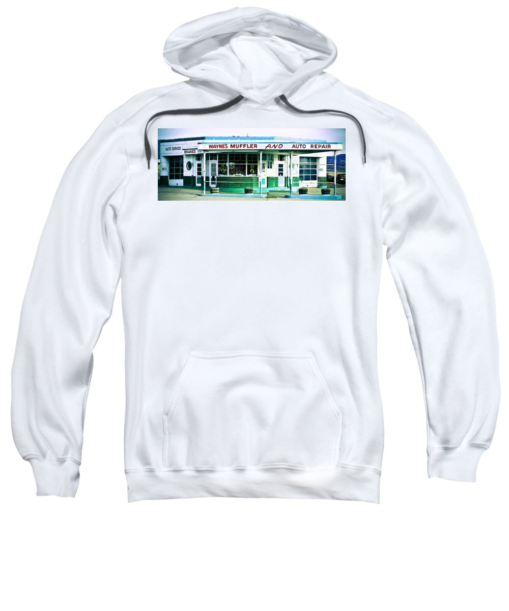 Americana Sweatshirt featuring the photograph Old Gas Station Green Tile by Marilyn Hunt