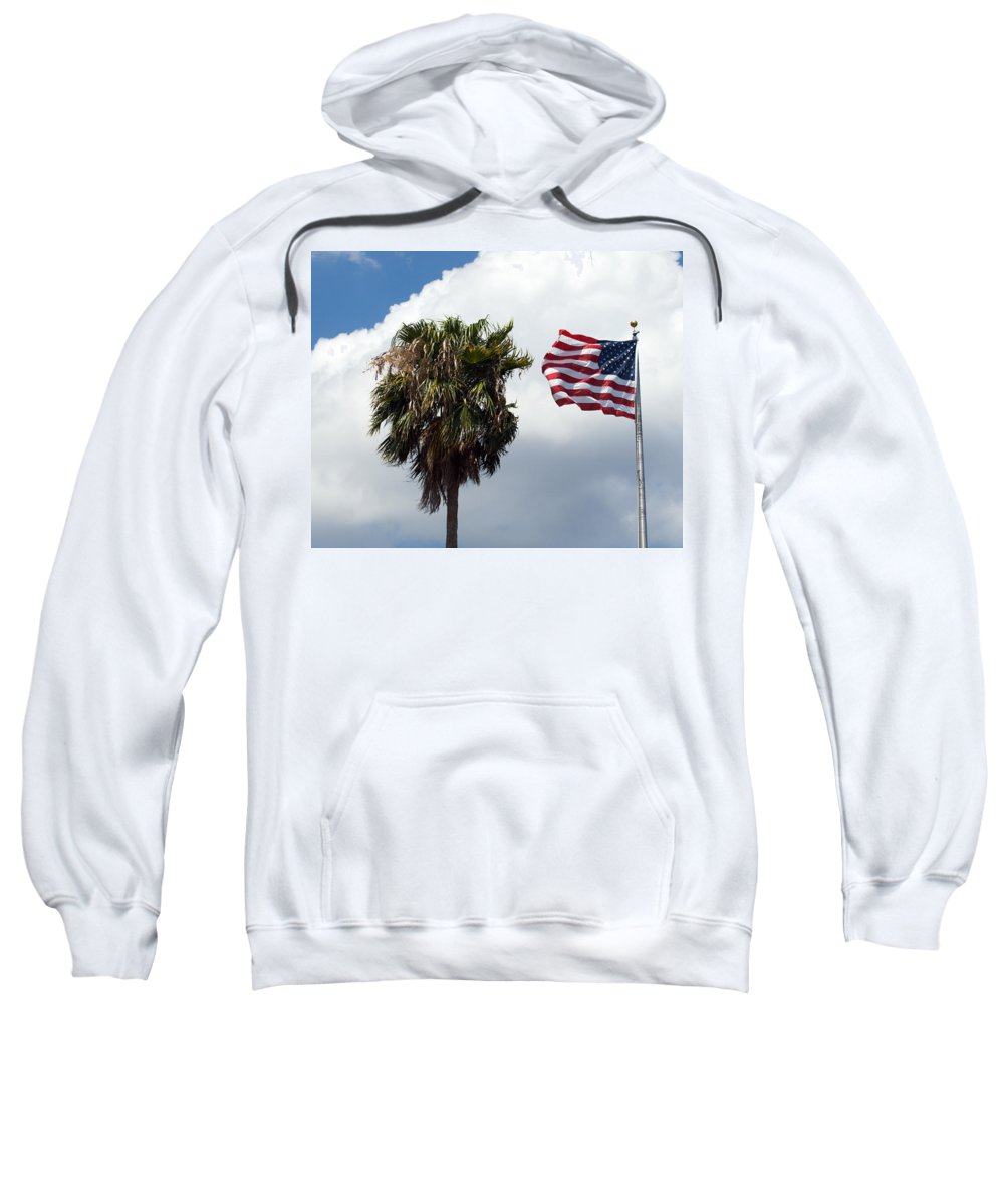 Florida; Titusville; Space; Coast; Astronauts; Astronaut; Cape; Canaveral; Mercury; Project; Freedom Sweatshirt featuring the photograph Old Glory Monument At Titusville Florida by Allan Hughes