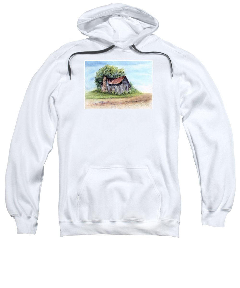 Old House Sweatshirt featuring the painting Old Home Place by Robin Martin Parrish
