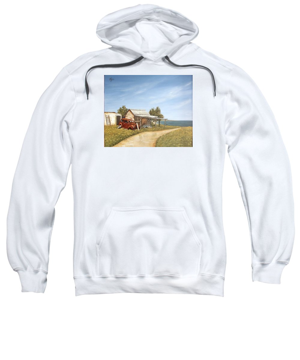 Old House Sea Seascape Landscape Sweatshirt featuring the painting Old House By The Sea by Natalia Tejera