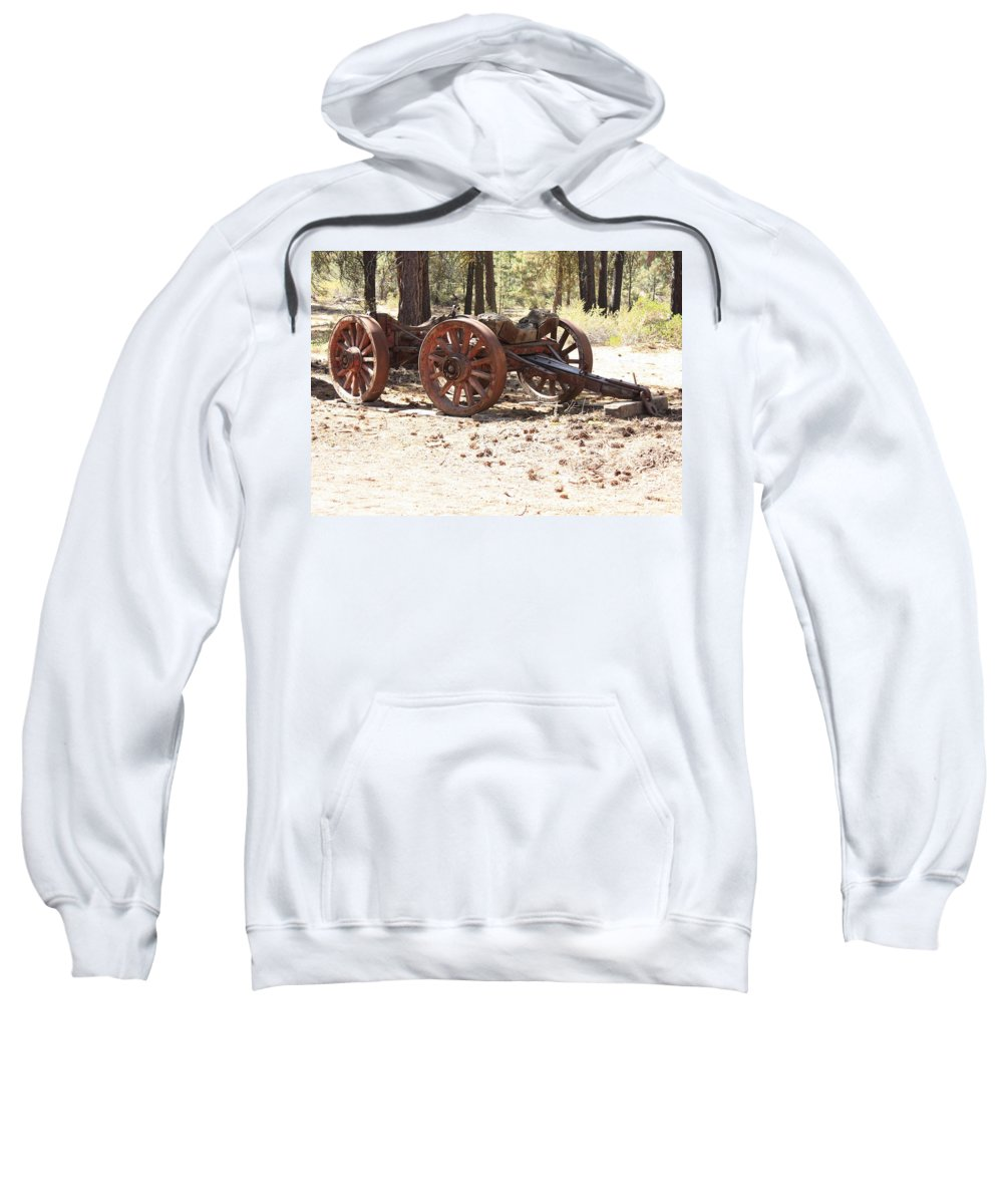 Old Wagon Sweatshirt featuring the photograph Old Logging Wagon by Carol Groenen