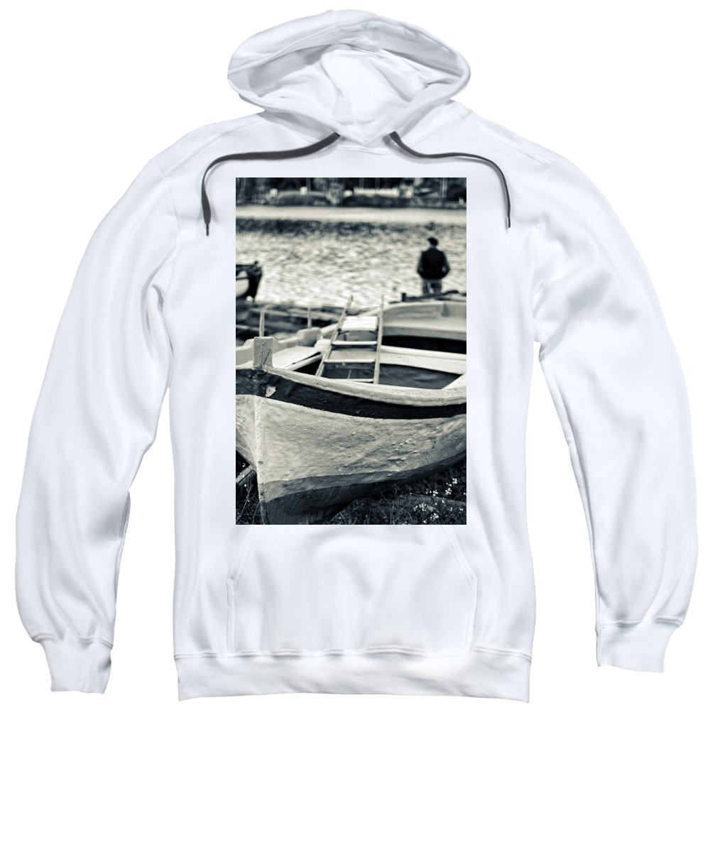Boat Sweatshirt featuring the photograph Old Man And Boat by Silvia Ganora