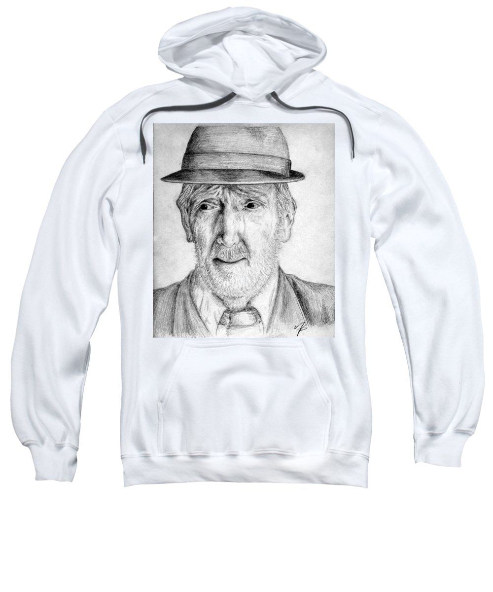 Man Sweatshirt featuring the drawing Old Man With Hat by Nicole Zeug