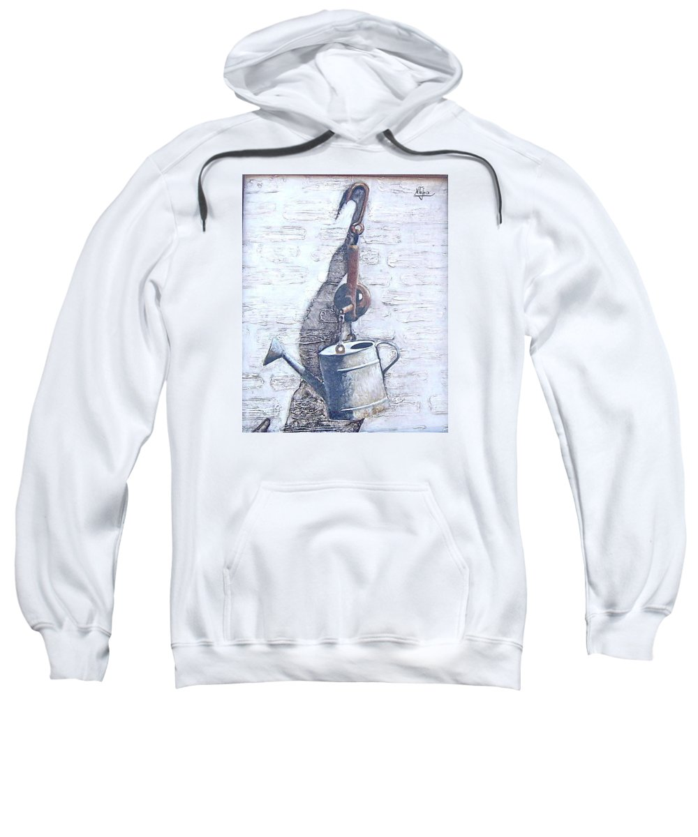 Old Metal Still Life Sweatshirt featuring the painting Old Metal by Natalia Tejera