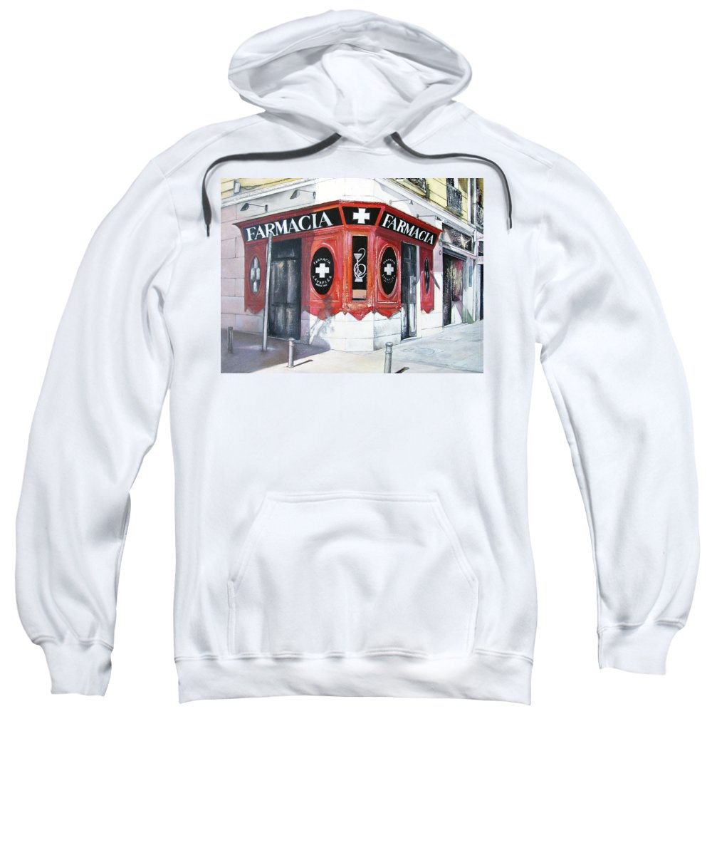 Pharmacy Sweatshirt featuring the painting Old Pharmacy by Tomas Castano