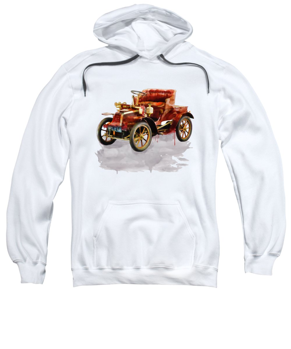 Watercolor Sweatshirt featuring the painting Oldtimer Car Watercolor by Marian Voicu