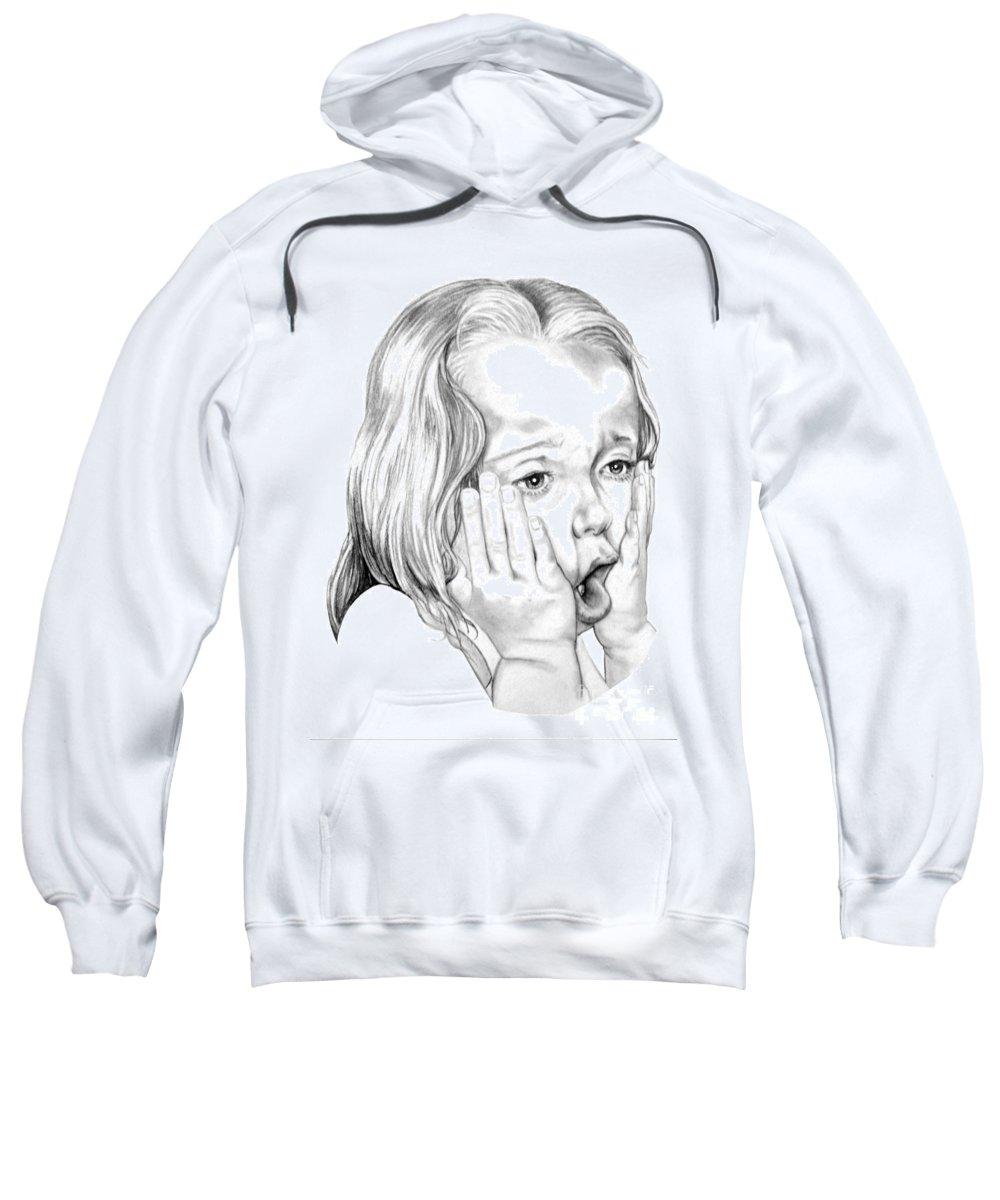 Portrait Sweatshirt featuring the drawing OMG by Murphy Elliott