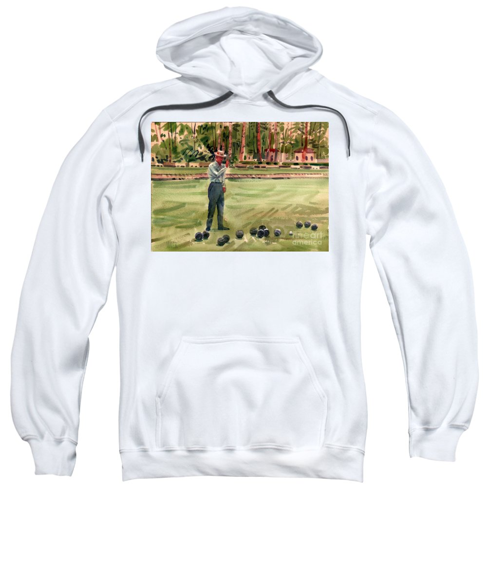 Bowls Sweatshirt featuring the painting On The Bowling Green by Donald Maier