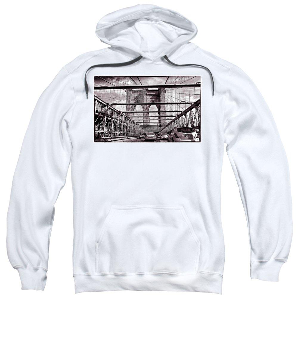 Bridge Sweatshirt featuring the photograph On The Brooklyn Bridge by Madeline Ellis