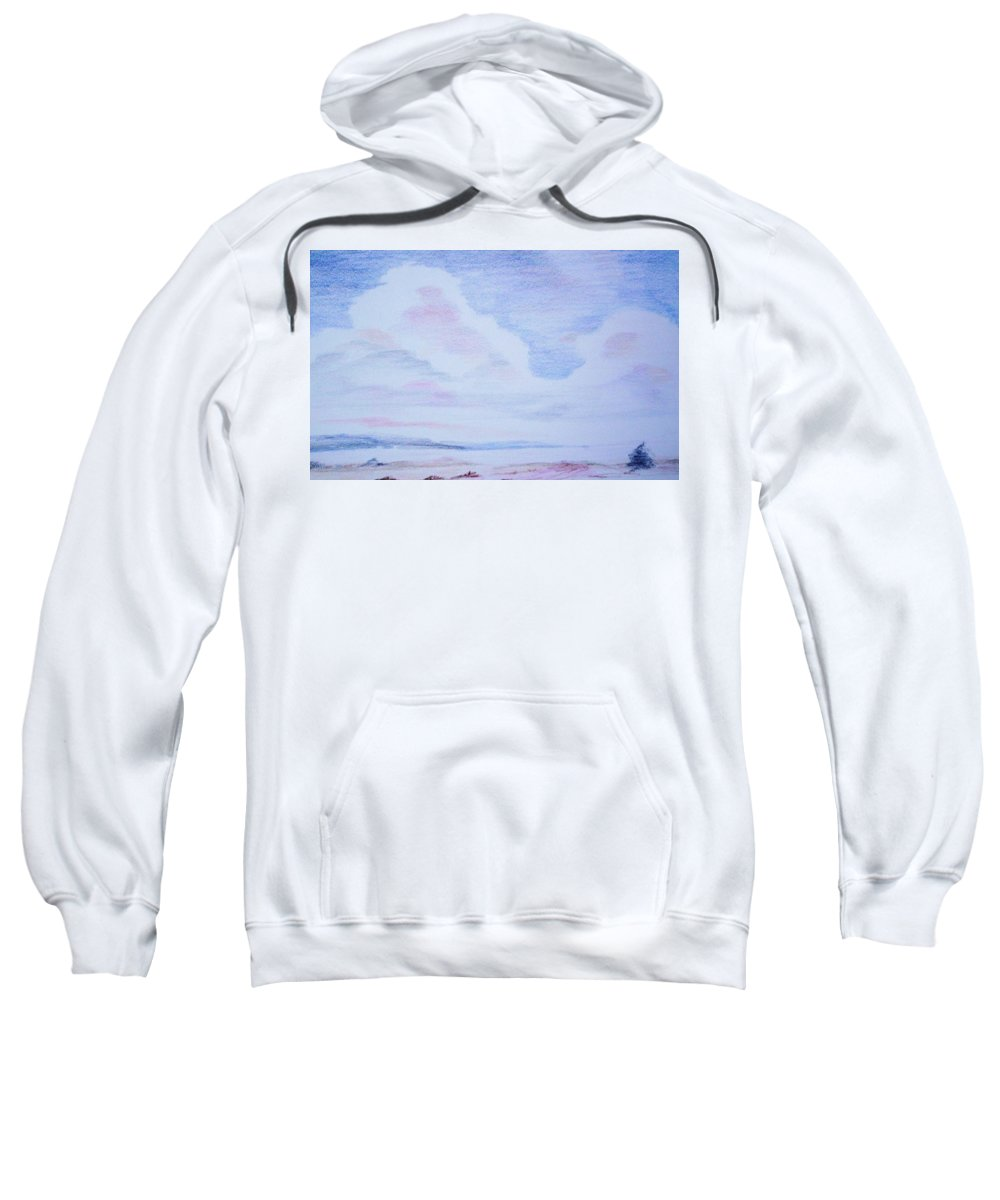 Landscape Painting Sweatshirt featuring the painting On The Way by Suzanne Udell Levinger