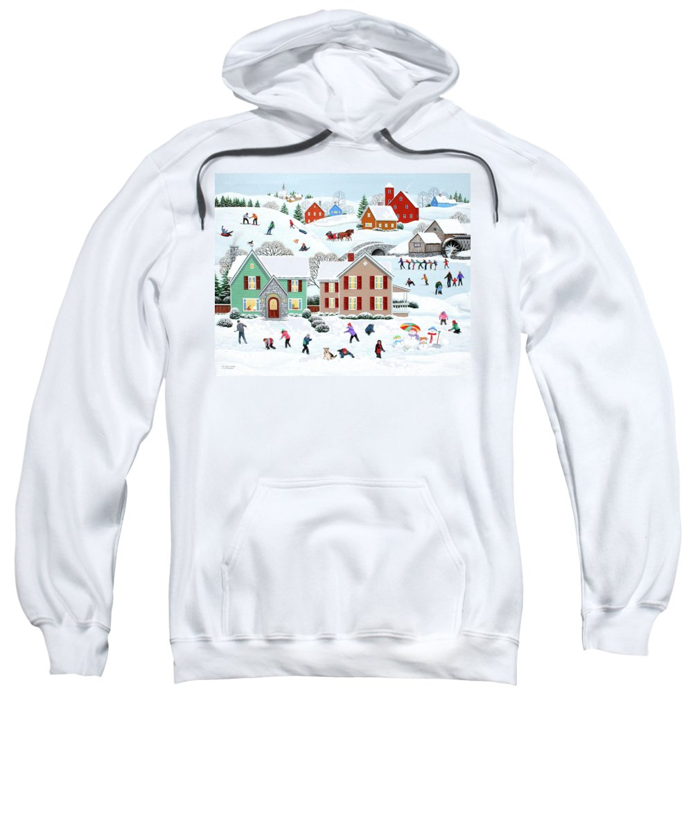 Folk Art Sweatshirt featuring the painting Once Upon A Winter by Wilfrido Limvalencia