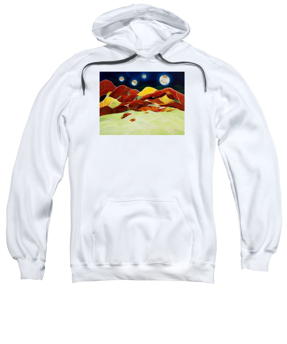 Oil Sweatshirt featuring the painting One Step Up From Third by Peggy Guichu