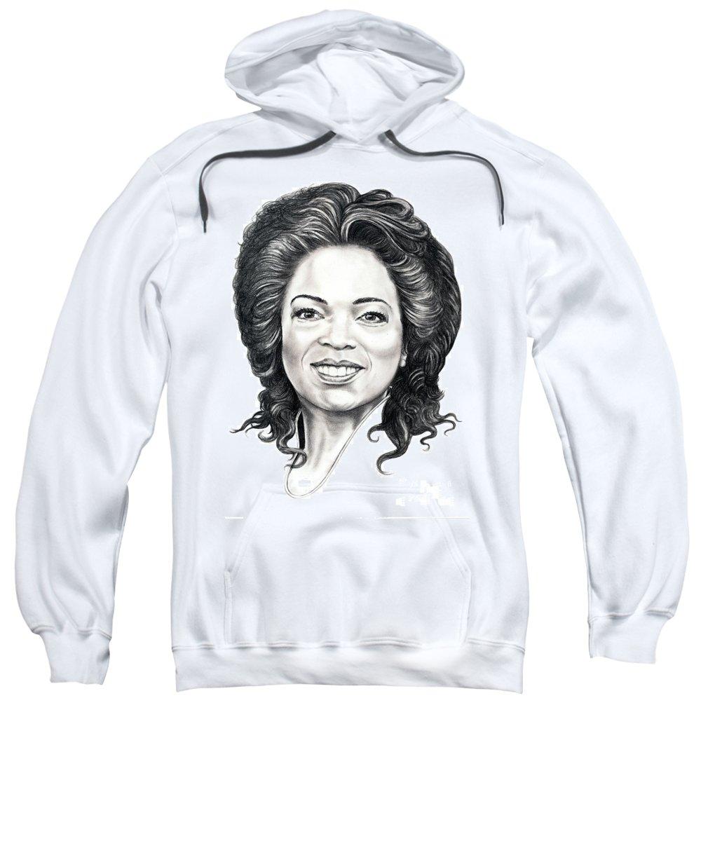 Oprah Sweatshirt featuring the drawing Oprah Winfrey by Murphy Elliott