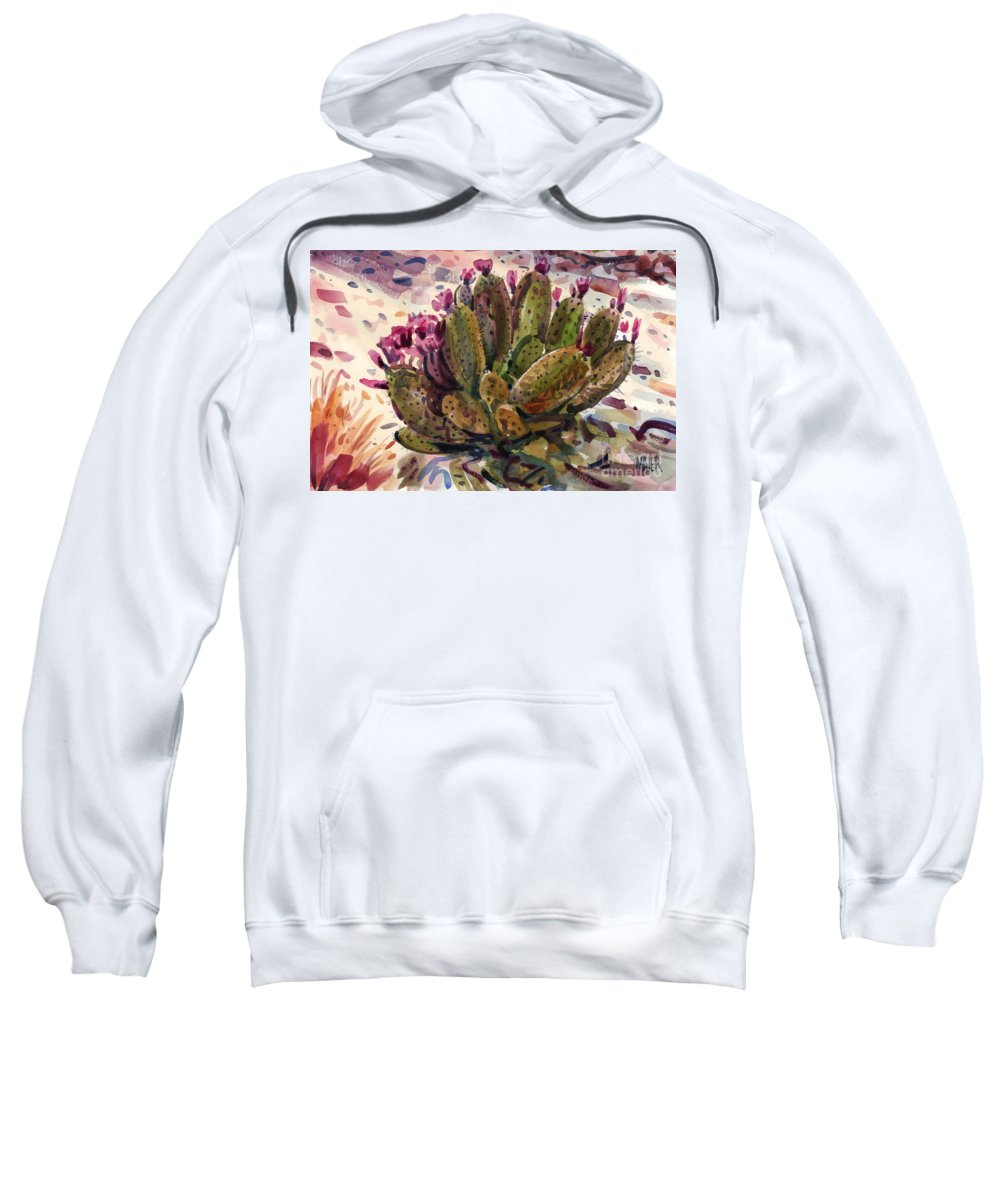 Opuntia Cactus Sweatshirt featuring the painting Opuntia Cactus by Donald Maier