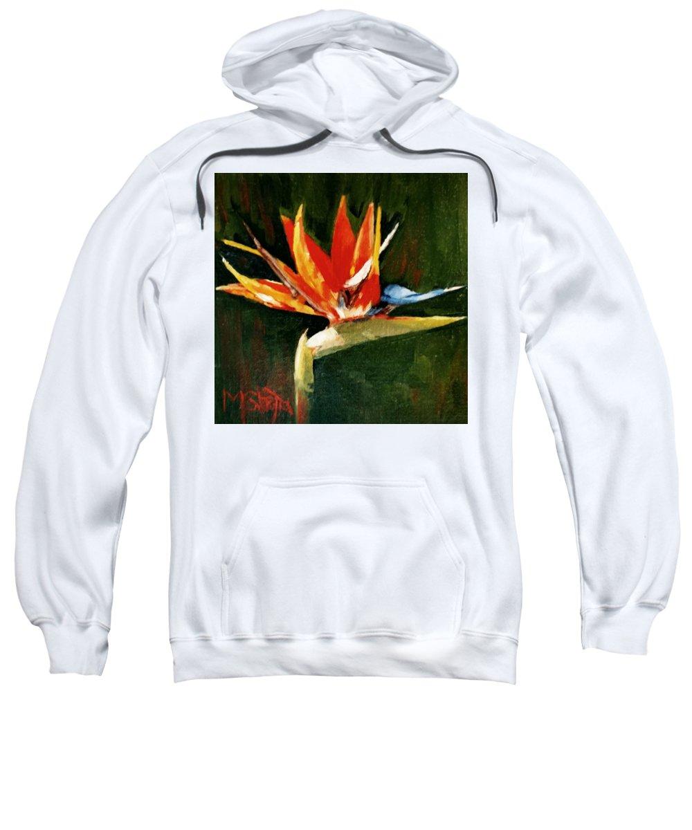 Bird Of Paradise Sweatshirt featuring the painting Orange Bird Of Paradise by Maureen Ghetia