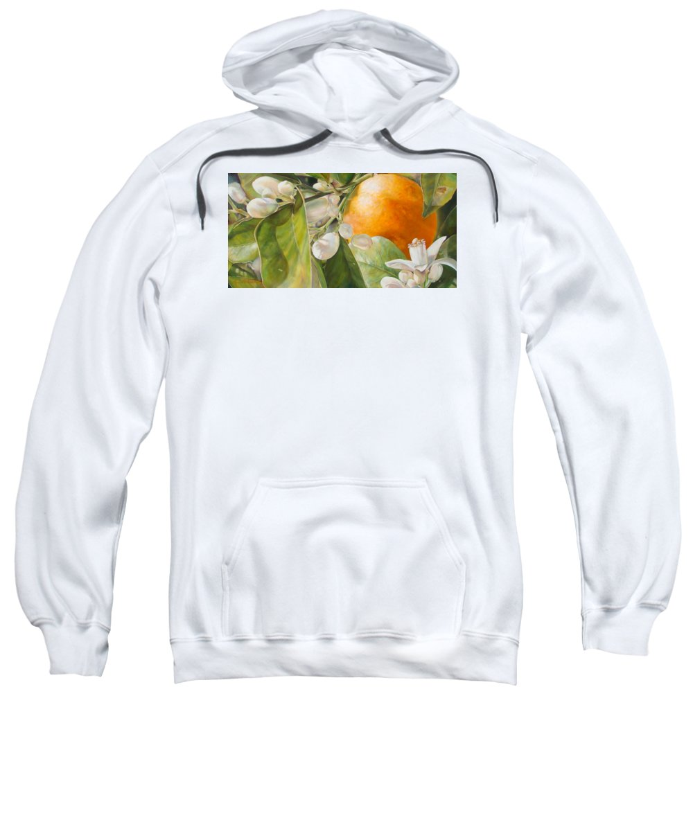 Floral Painting Sweatshirt featuring the painting Orange Fleurie by Dolemieux