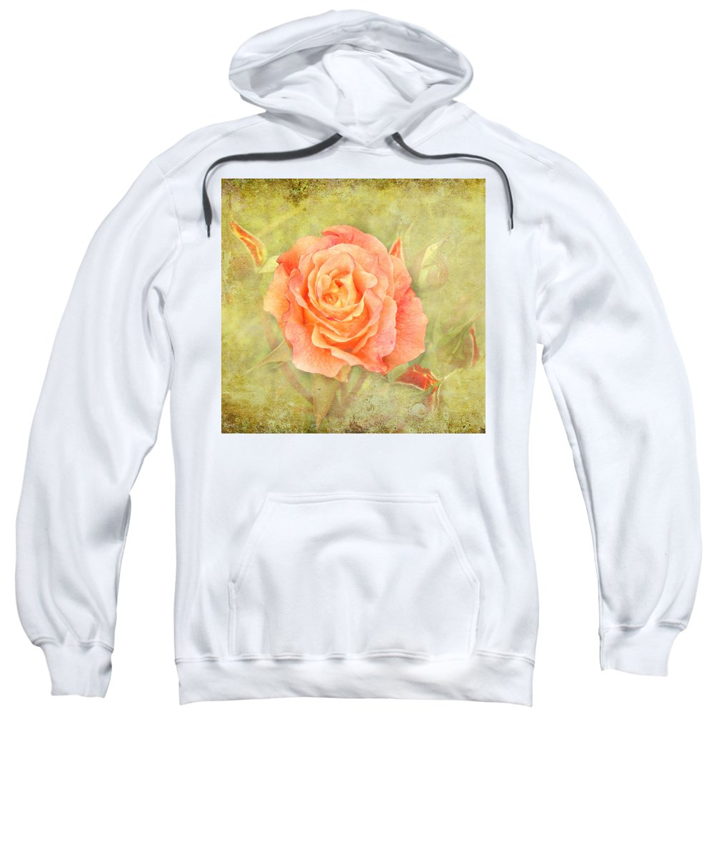 Flower Sweatshirt featuring the photograph Orange Rose With Old Paint Texture Background by Vesela Yokova