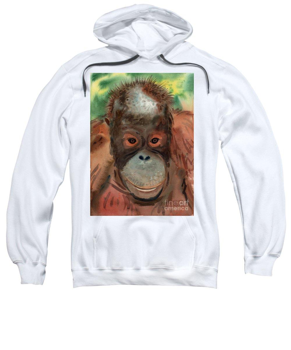 Orangutans Sweatshirt featuring the painting Orangutan by Donald Maier