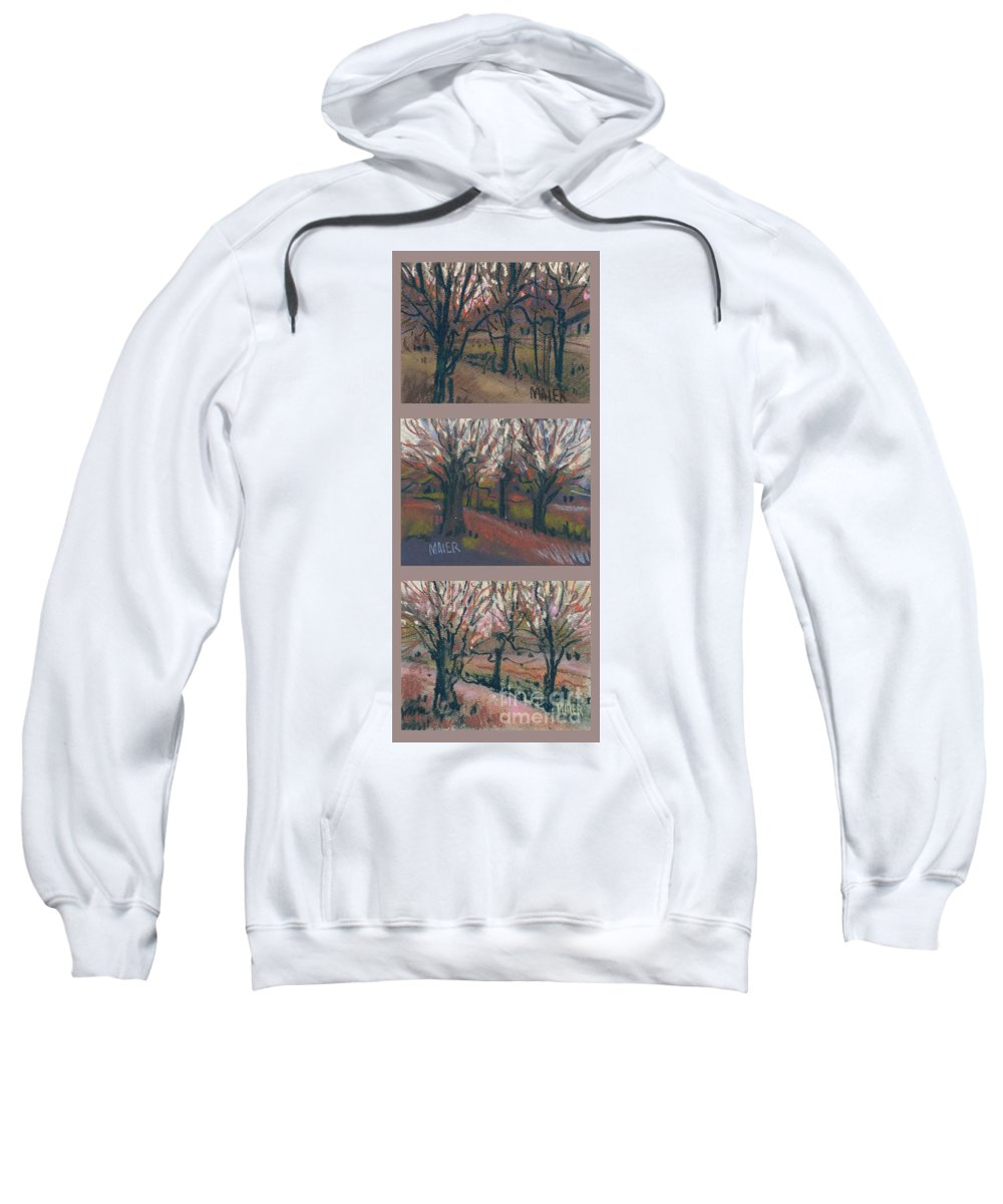 Pastel Sweatshirt featuring the drawing Orchard Sunset by Donald Maier