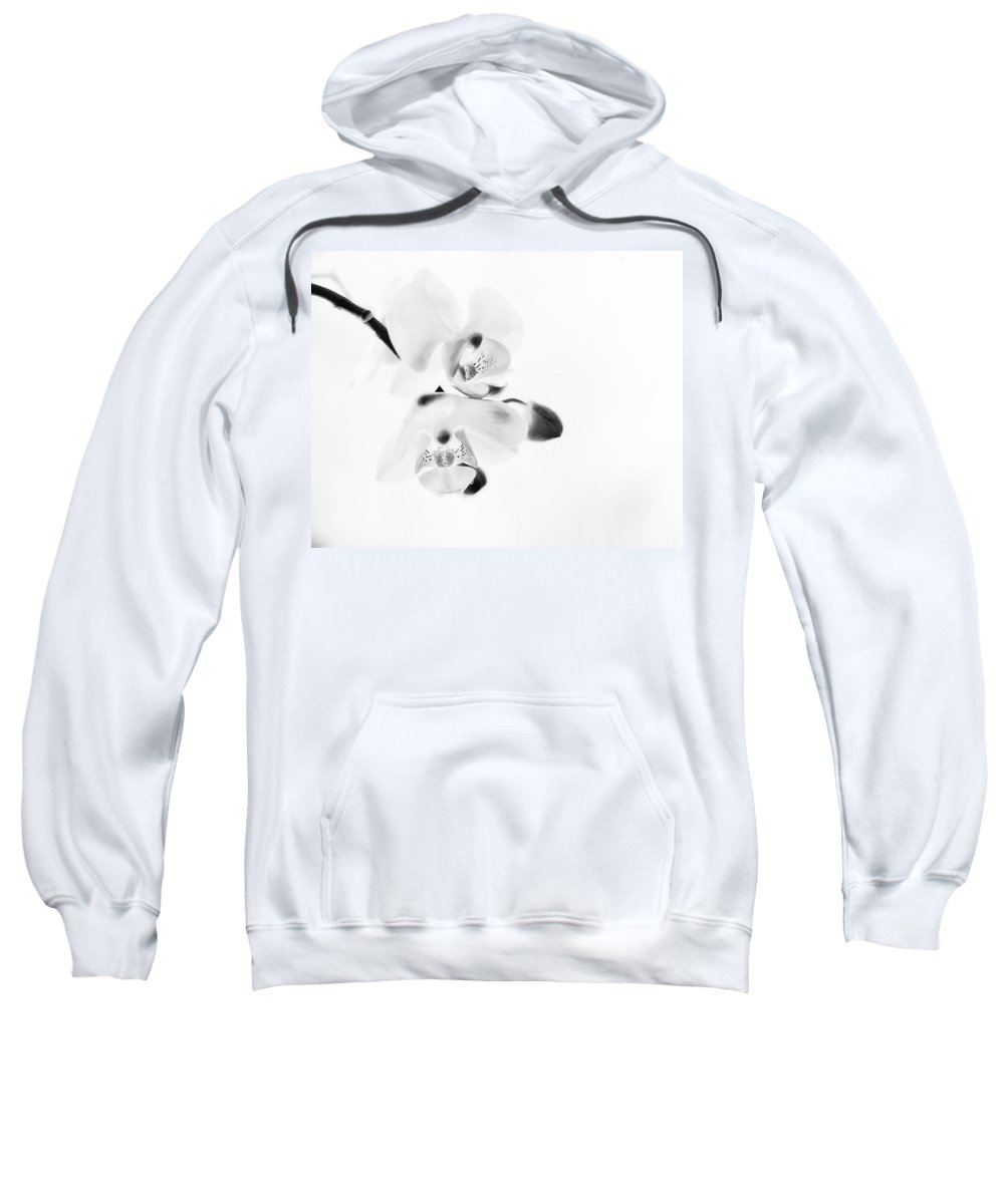 Orchid Sweatshirt featuring the photograph Orchid Zen Monotone by Susan Capuano