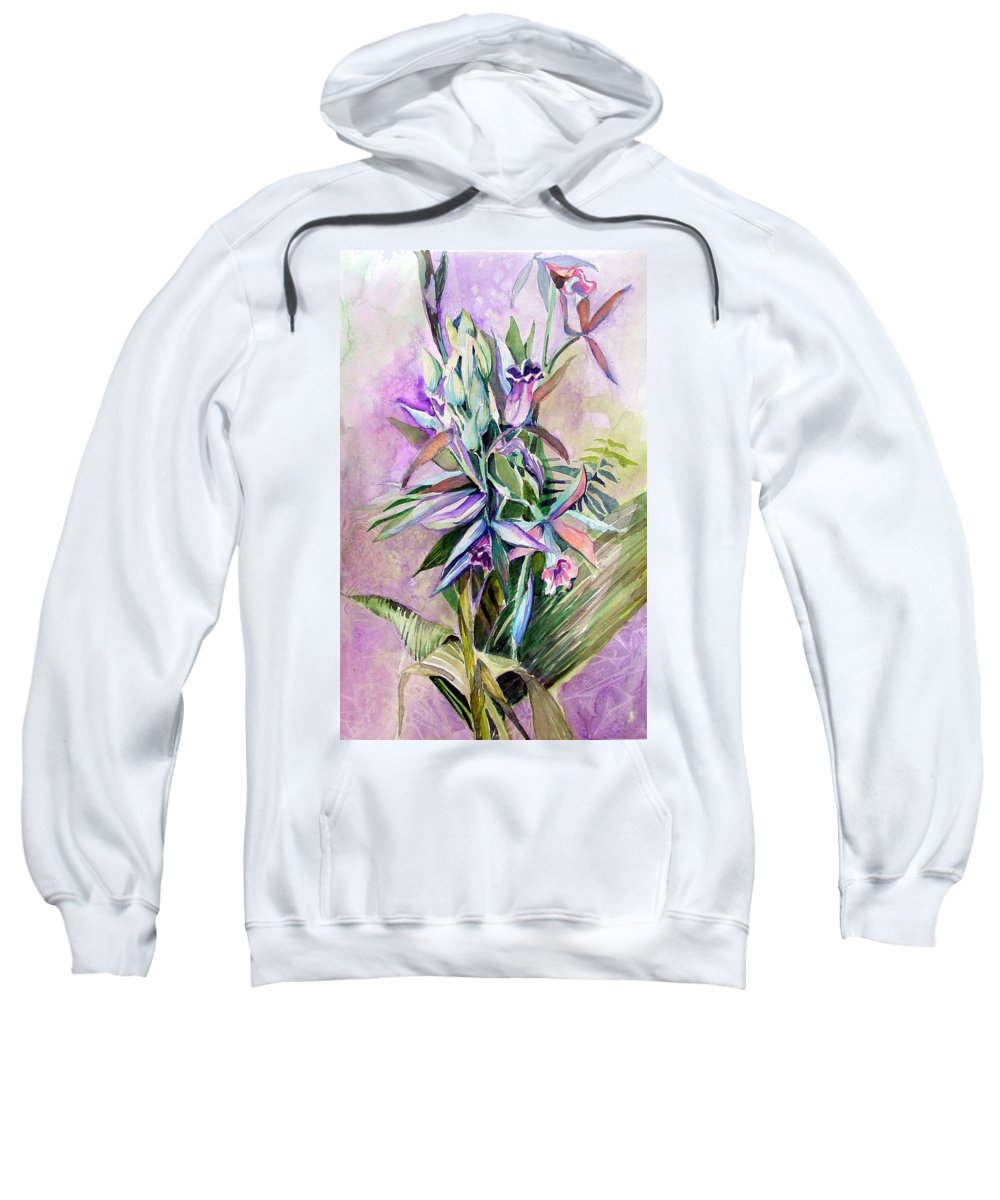 Orchids Sweatshirt featuring the painting Orchids- Botanicals by Mindy Newman
