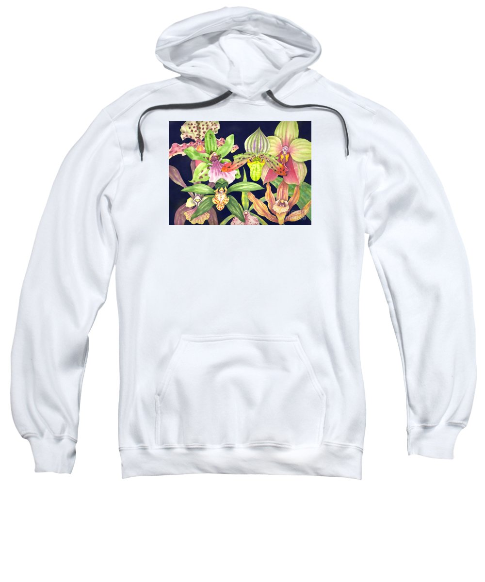 Orchids Sweatshirt featuring the painting Orchids by Lucy Arnold