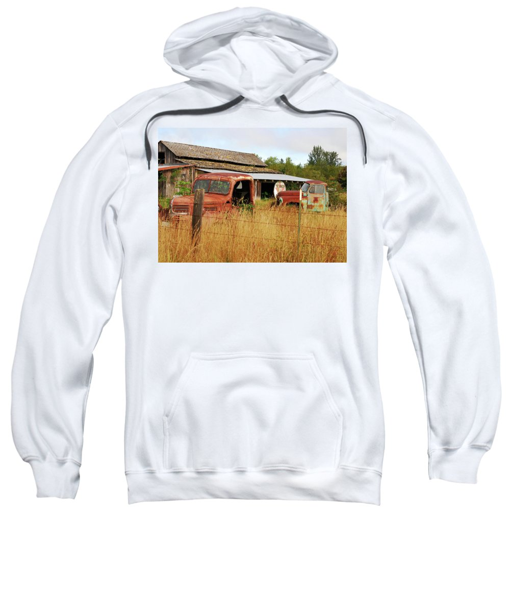 Old Texaco Sign Sweatshirt featuring the photograph Out Of Gas. Rusty Trucks And Texaco Sign by Connie Fox