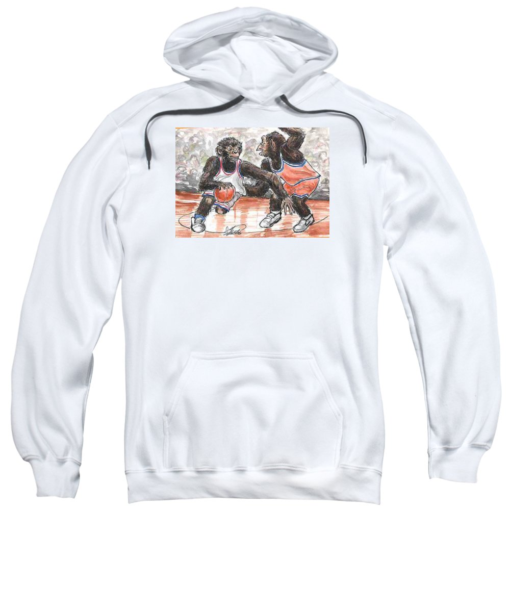 Basketball Sweatshirt featuring the painting Out Of My Way by George I Perez