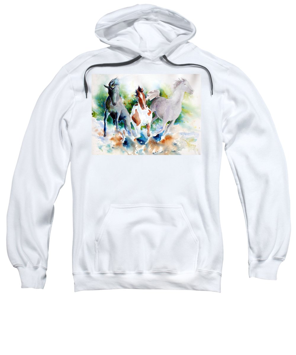 Horses Sweatshirt featuring the painting Out Of Nowhere by Christie Martin