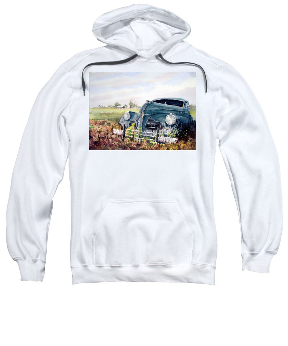 Classic Car Sweatshirt featuring the painting Out To Pasture by Sam Sidders