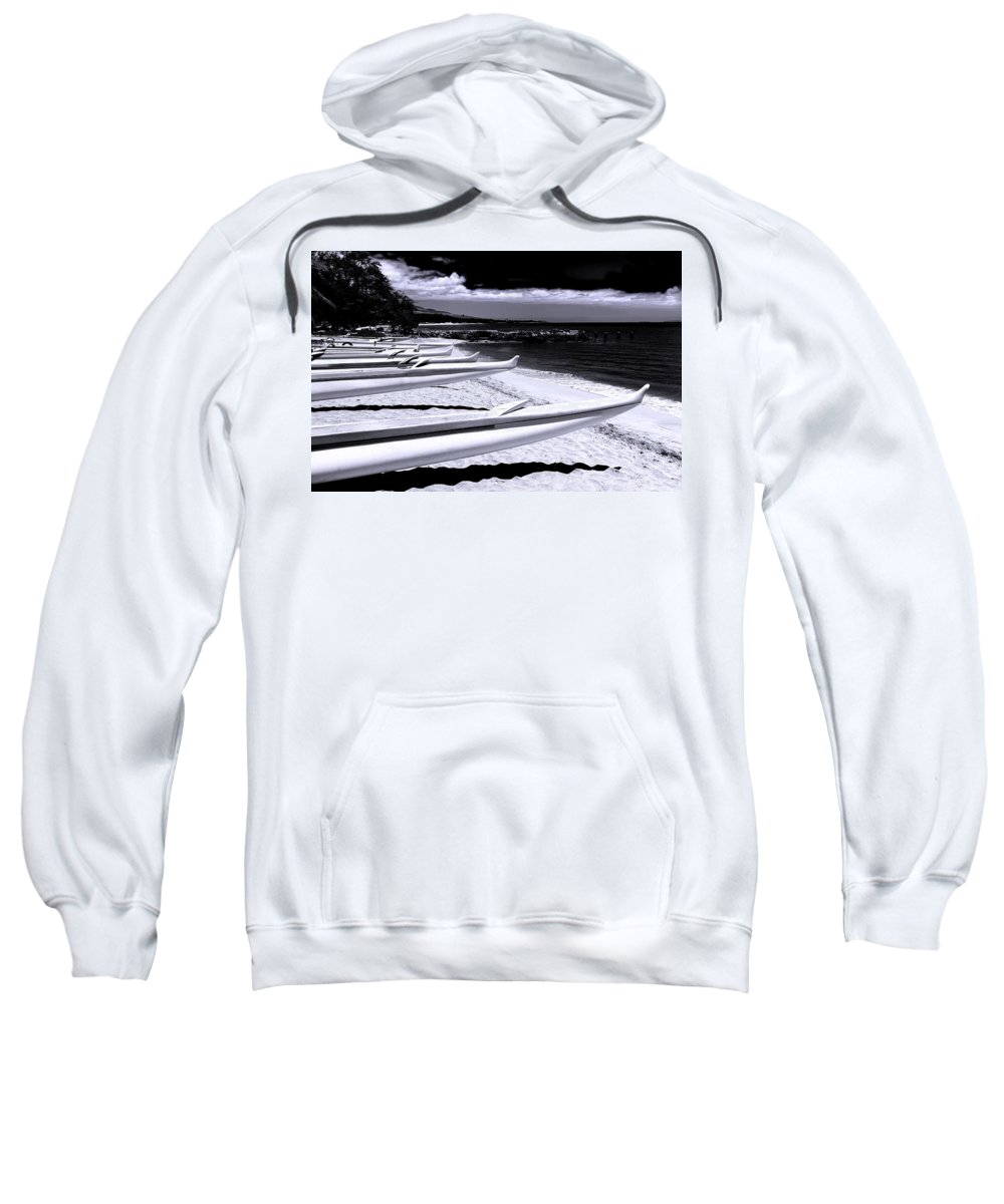 Boats Sweatshirt featuring the photograph Outrigger Ocean Canoes by John Orsbun