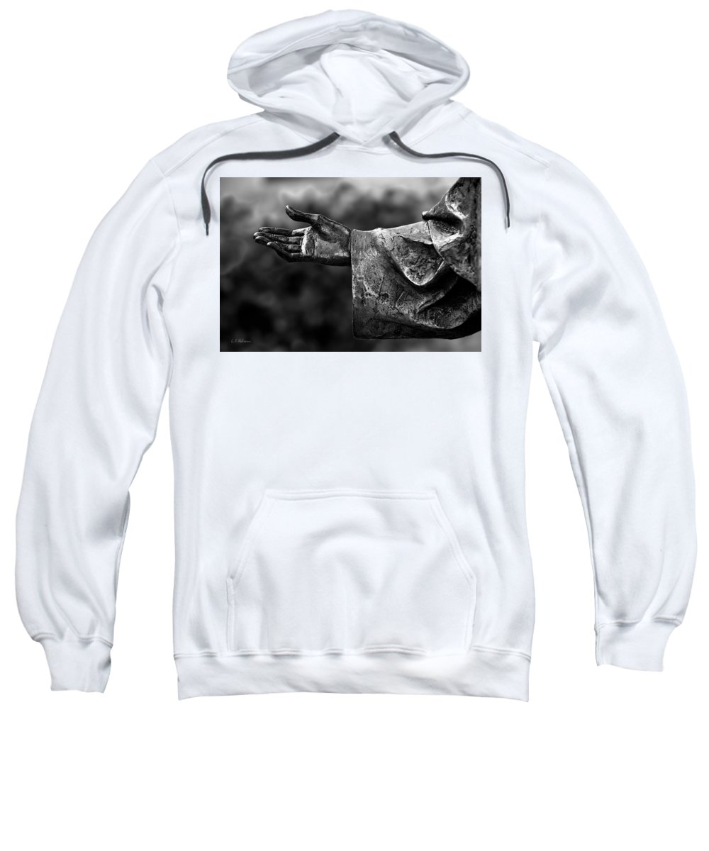 Hand Sweatshirt featuring the photograph Outstreched Hand B-w by Christopher Holmes