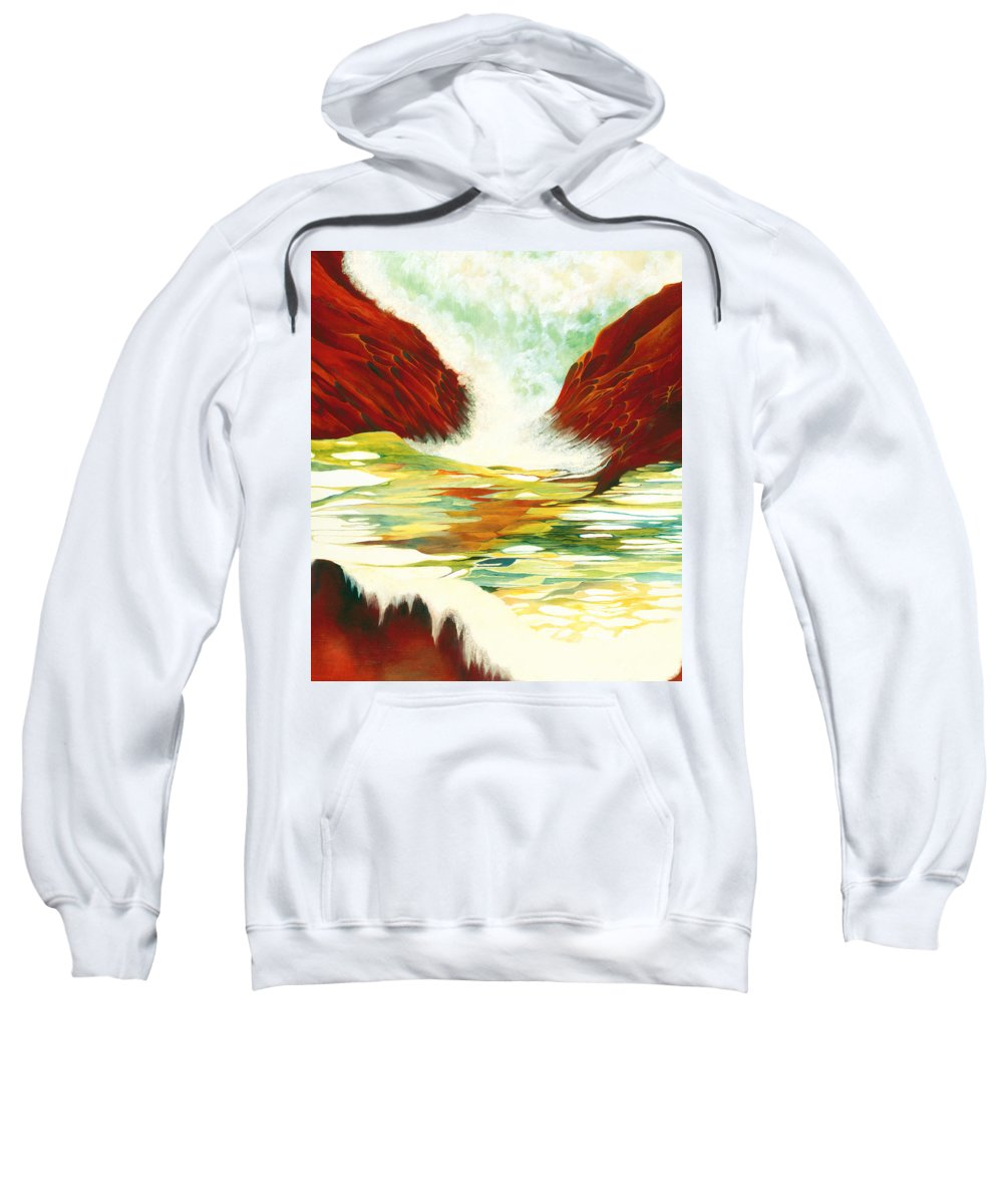 Oil Sweatshirt featuring the painting Overflowing by Peggy Guichu
