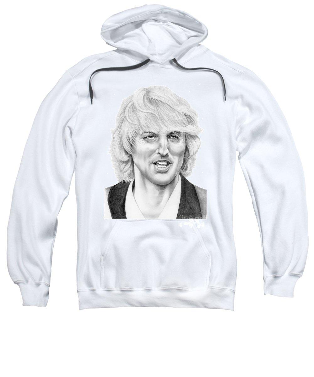 Drawing Sweatshirt featuring the drawing Owen Wilson by Murphy Elliott