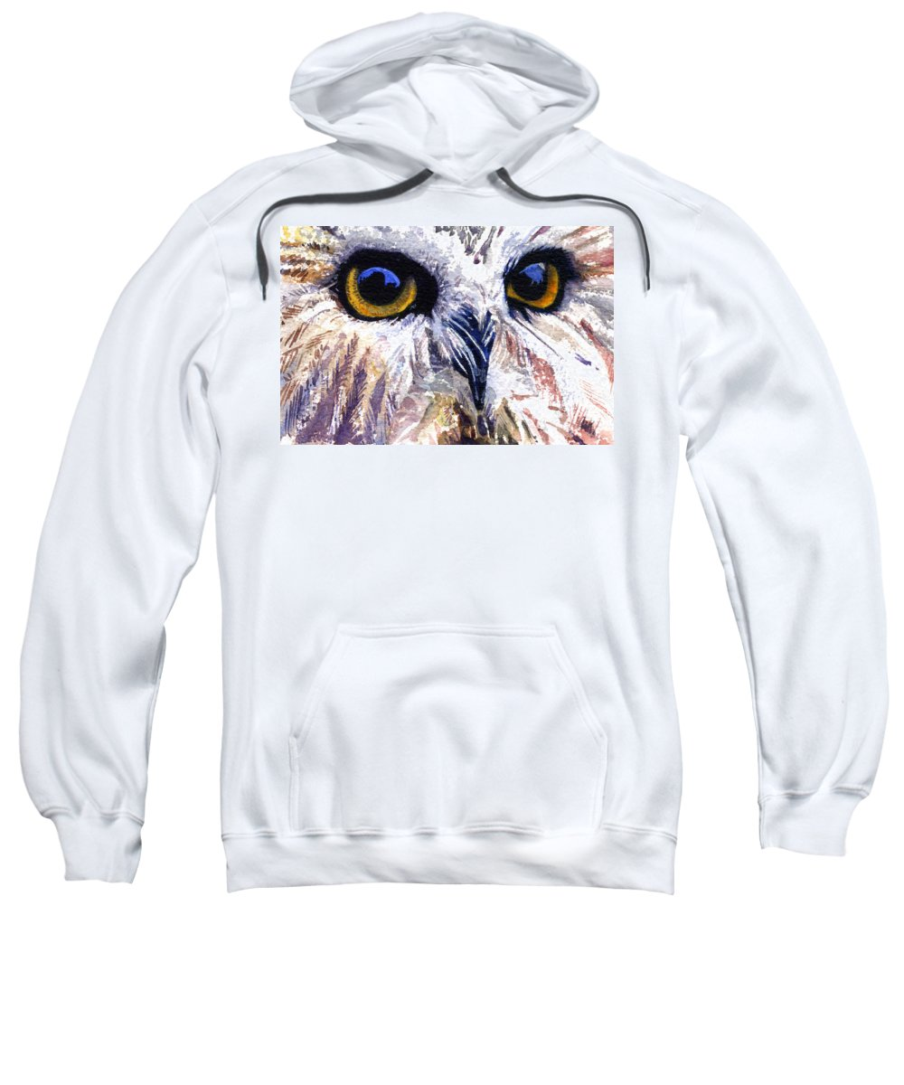 Eye Sweatshirt featuring the painting Owl by John D Benson
