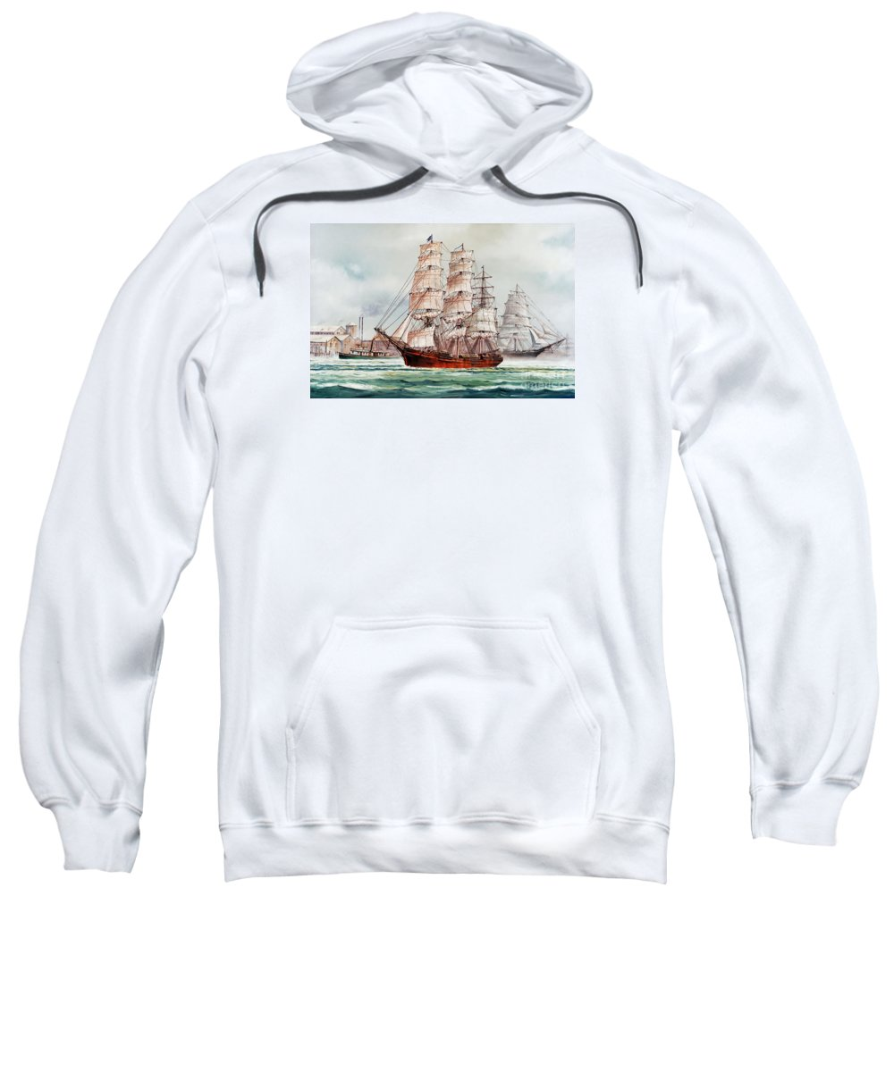 Tall Ship Print Sweatshirt featuring the painting Pacific Fleet by James Williamson