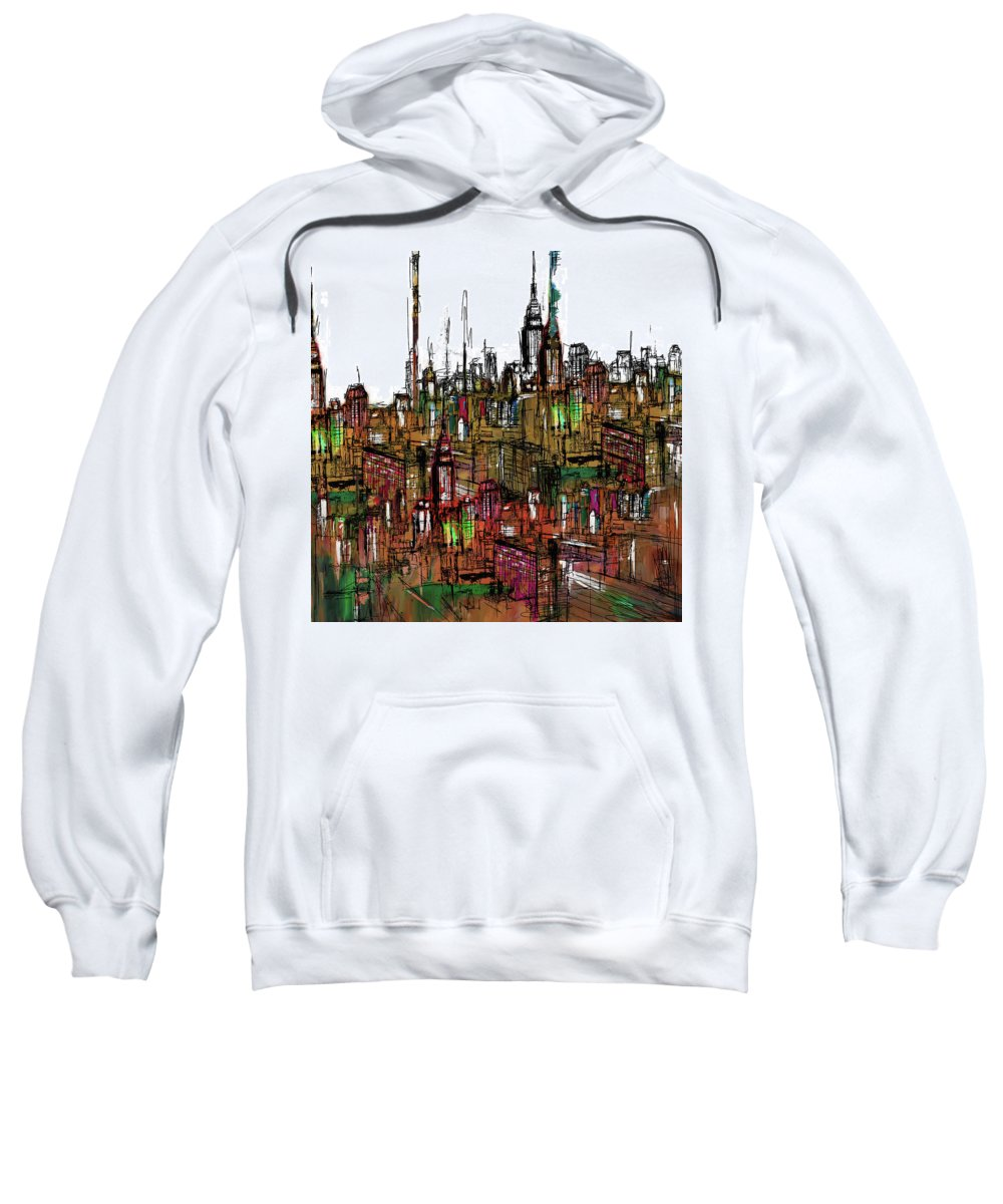 New York Sweatshirt featuring the painting Painting 775 2 New York Skyline by Mawra Tahreem