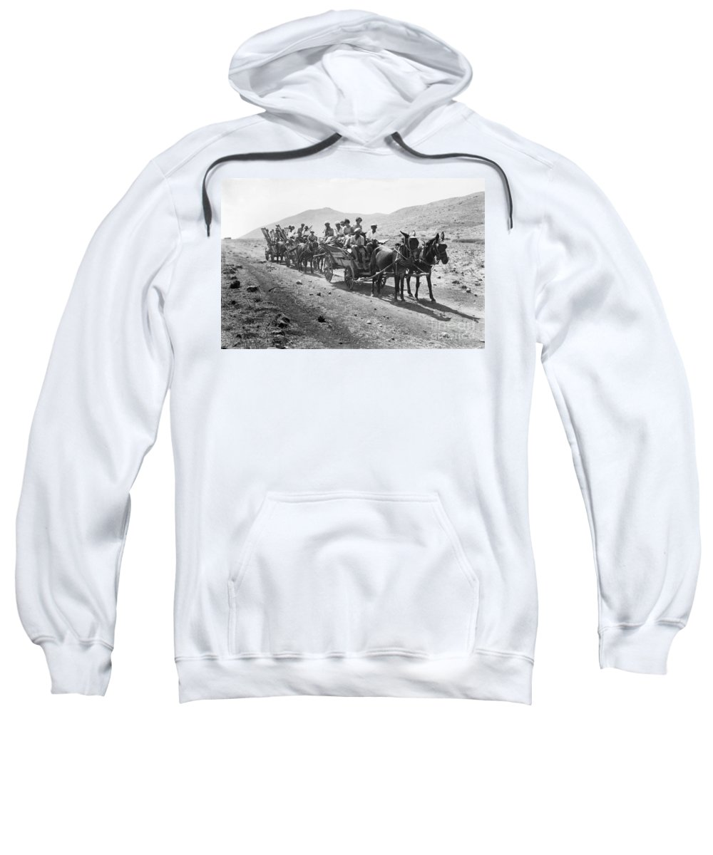 1920 Sweatshirt featuring the photograph Palestine Colonists, 1920 by Granger